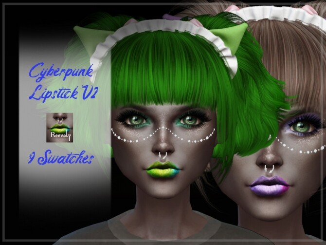 Sims 4 Cyberpunk Lipstick V2 by Reevaly at TSR