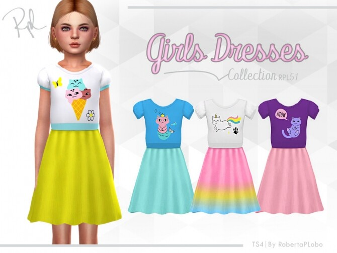 Sims 4 Girls Dresses Collection RPL51 by RobertaPLobo at TSR