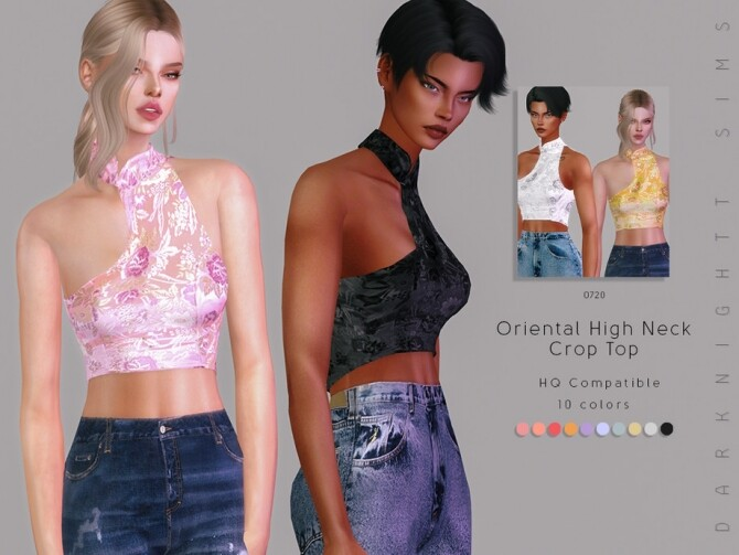Oriental High Neck Crop Top by DarkNighTt at TSR image 2922 670x503 Sims 4 Updates