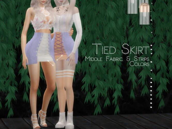 Tied Skirt Middle Fabric and Strips Colors by Dissia