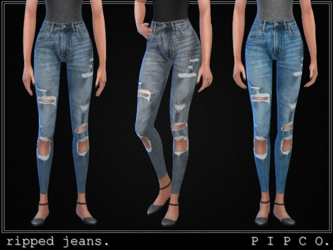 Sims 4 Ripped jeans set by Pipco at TSR