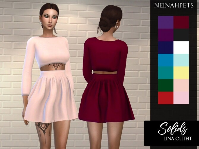 Sims 4 Solids Lina Outfit by neinahpets at TSR