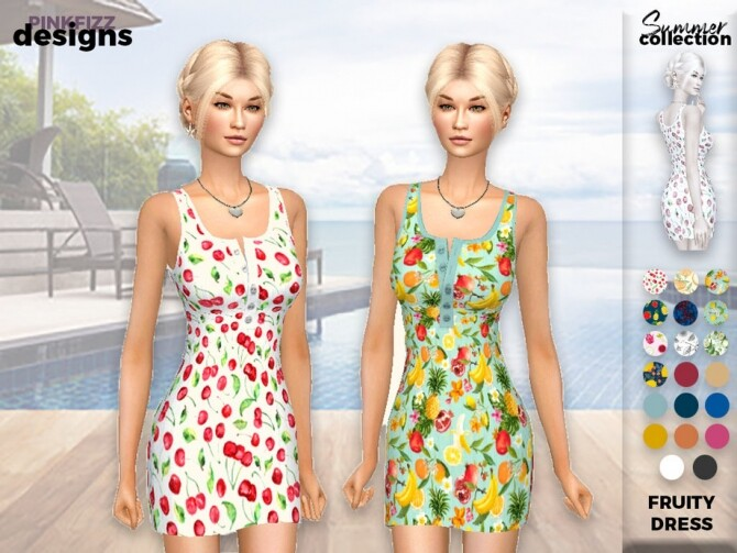 Sims 4 Summer Fruity Dress PF133 by Pinkfizzzzz at TSR