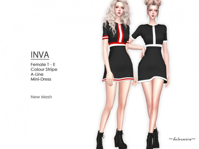 Sims 4 INVA A Line Mini Dress by Helsoseira at TSR