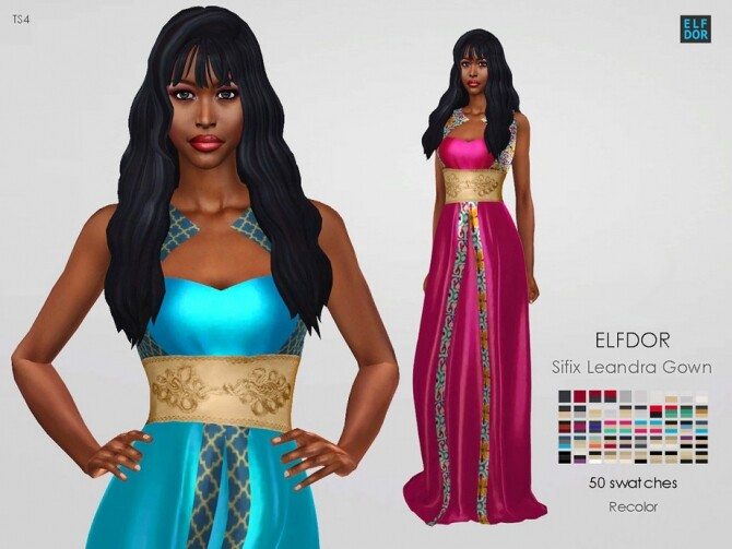 Sims 4 Sifix Leandra Gown RC by Elfdor at TSR