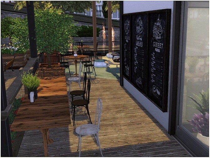 Wooden Cafe by lotsbymanal at TSR image 370 670x503 Sims 4 Updates