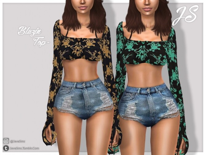 Sims 4 Blazin Top by JavaSims at TSR