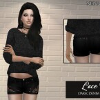 Lace Net Dark Denim Shorts by neinahpets