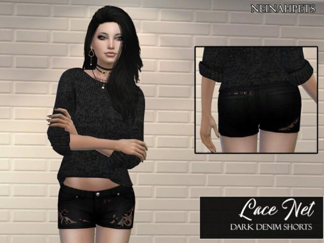 Lace Net Dark Denim Shorts by neinahpets