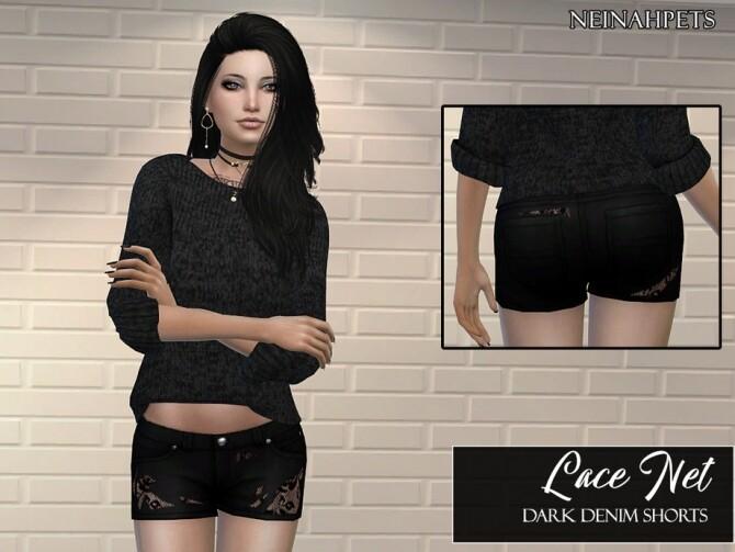 Sims 4 Lace Net Dark Denim Shorts by neinahpets at TSR