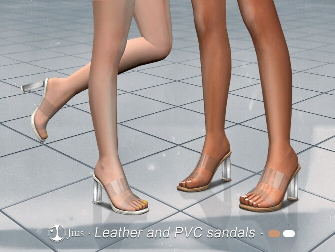 Sims 4 Leather and PVC sandals by Jius at TSR