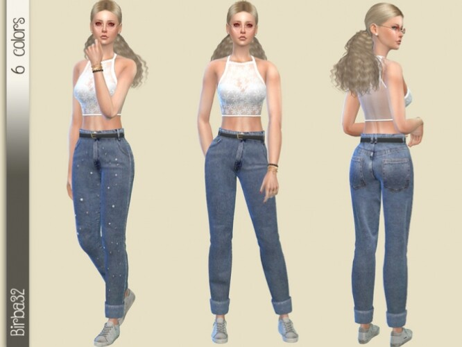 Wide Jeans with pearls by Birba32