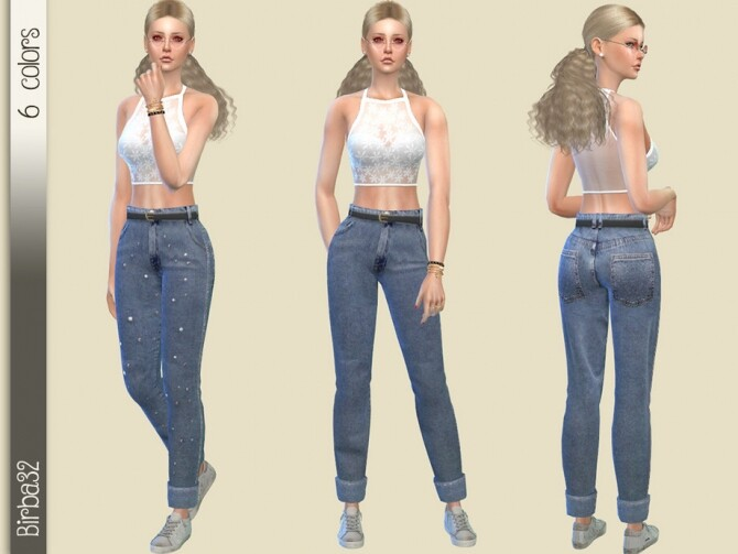Sims 4 Wide Jeans with pearls by Birba32 at TSR
