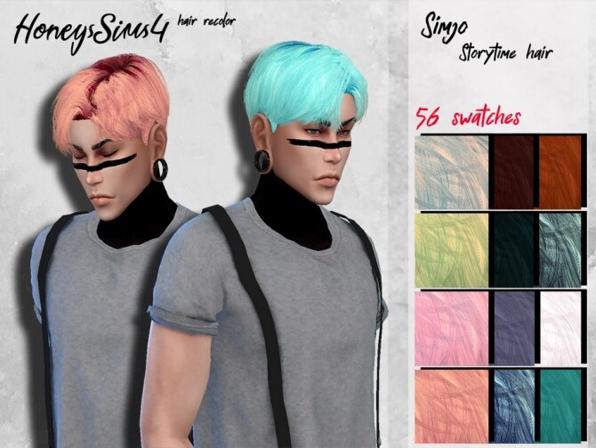 Sims 4 Simjo Storytime male hair recolor by HoneysSims4 at TSR