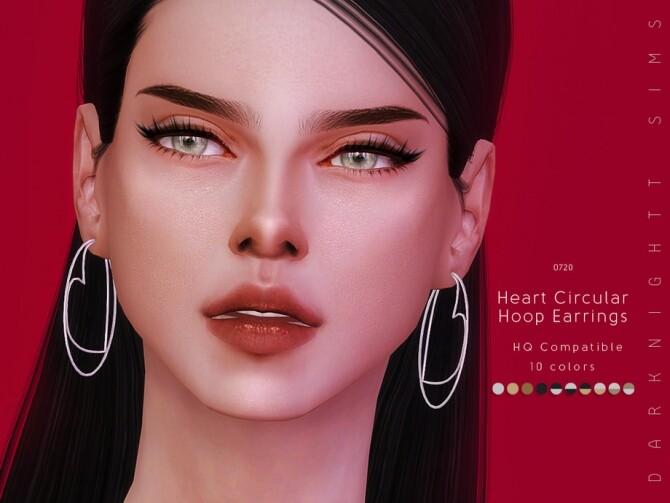 Sims 4 Heart Circular Hoop Earrings by DarkNighTt at TSR