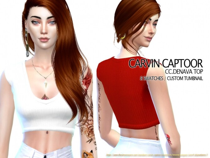 Sims 4 Denava Top by carvin captoor at TSR