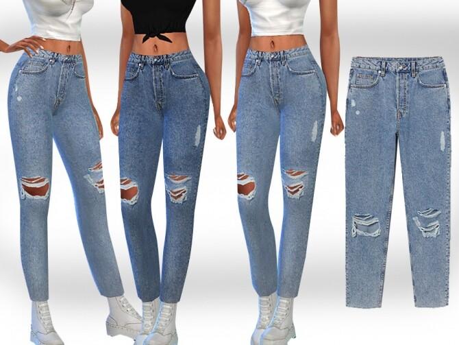 Sims 4 Cropped Mesh Slim Mom Jeans by Saliwa at TSR