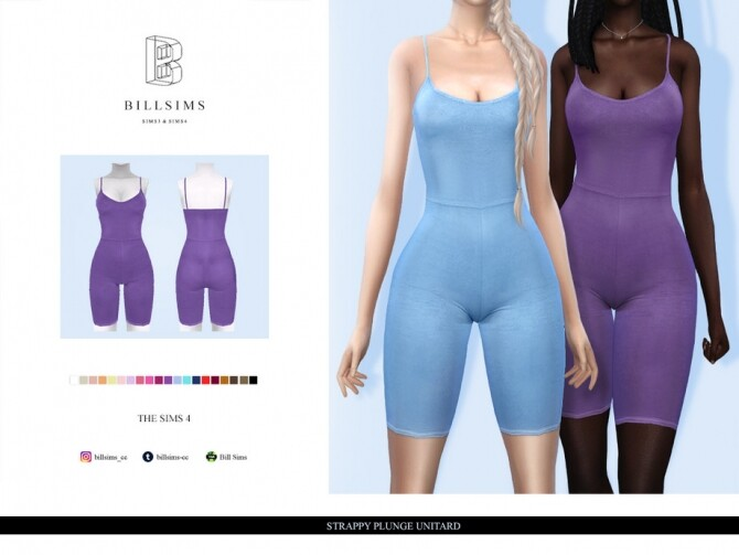 Sims 4 Strappy Plunge Unitard by Bill Sims at TSR
