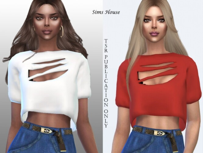 Women's T-shirt with slits by Sims House
