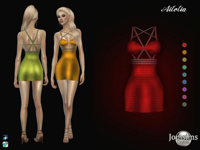 Sims 4 Ailolia dress by  jomsims at TSR