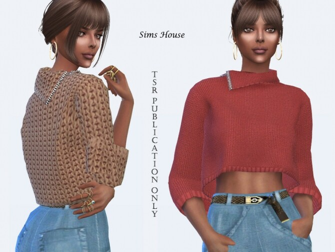 Knit Three Quarter Sleeve Sweater by Sims House at TSR image 4911 670x503 Sims 4 Updates