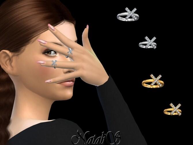 Sims 4 X shaped rings by NataliS at TSR