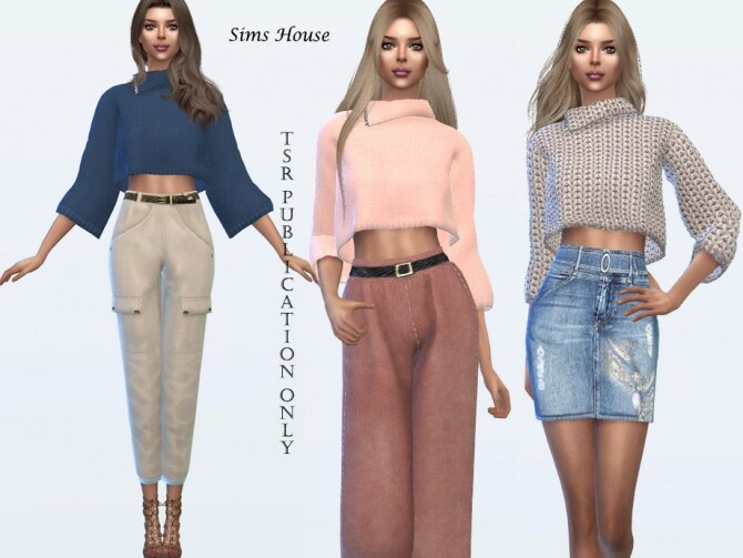 Knit Three Quarter Sleeve Sweater by Sims House at TSR image 5011 670x503 Sims 4 Updates
