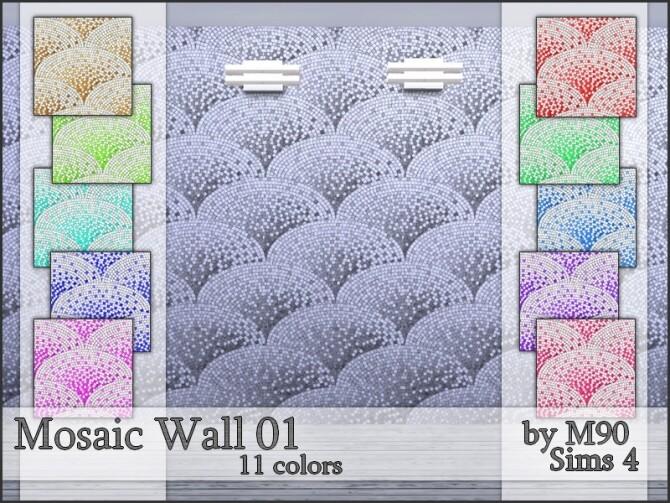 Sims 4 M90 Mosaic Wall 01 by Mircia90 at TSR