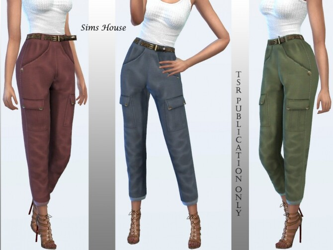 Sims 4 Cargo Pants with Slim Belt F by Sims House at TSR