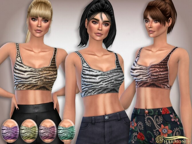 Sims 4 Tigerprint Sport Bralet by Harmonia at TSR