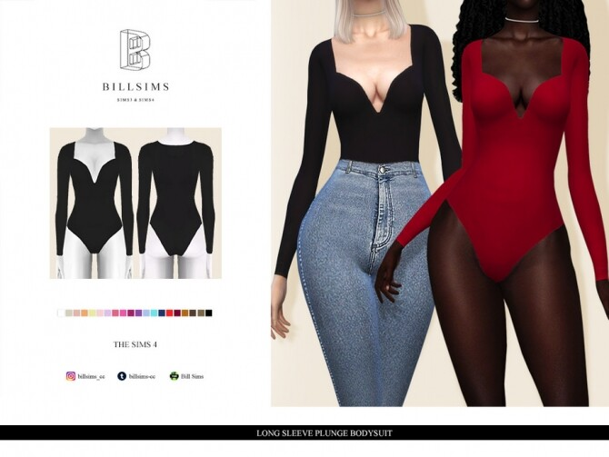 Long Sleeve Plunge Bodysuit by Bill Sims at TSR image 5813 670x503 Sims 4 Updates