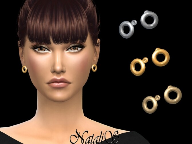 Flat circle stud earrings by NataliS at TSR image 591 670x503 Sims 4 Updates