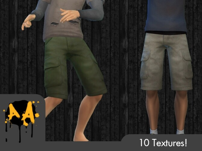 Sims 4 Apocalypse Apparel Cargo Shorts by Bluebrick04 at TSR