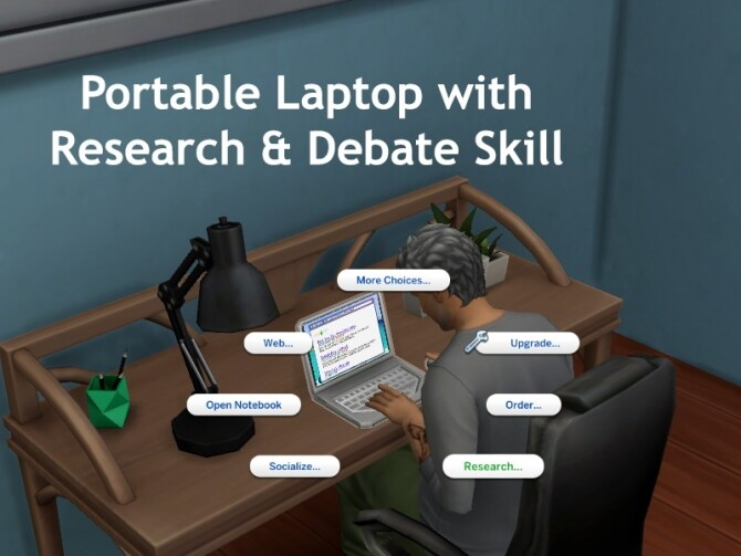 Sims 4 Portable Laptop with Research and Debate Skill by holographictrash at Mod The Sims