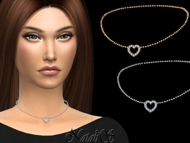 Crystal open heart choker by NataliS