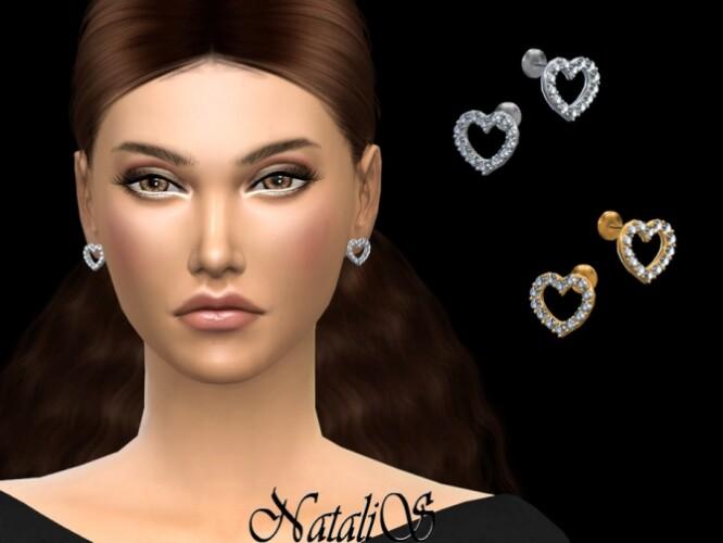 Crystal open heart stud earrings by NataliS