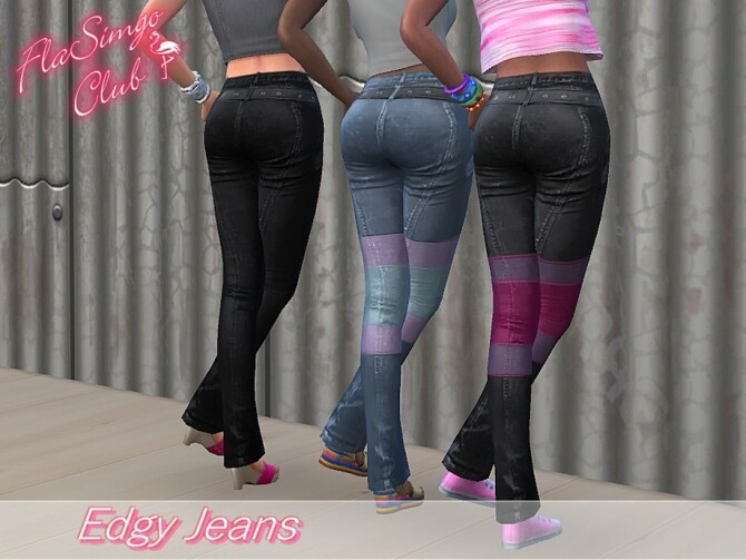Sims 4 Edgy Jeans by FlaSimgo Club at TSR