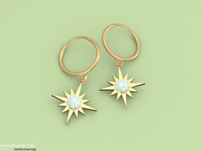 Starburst Earrings by Christopher067 at TSR image 6910 670x503 Sims 4 Updates