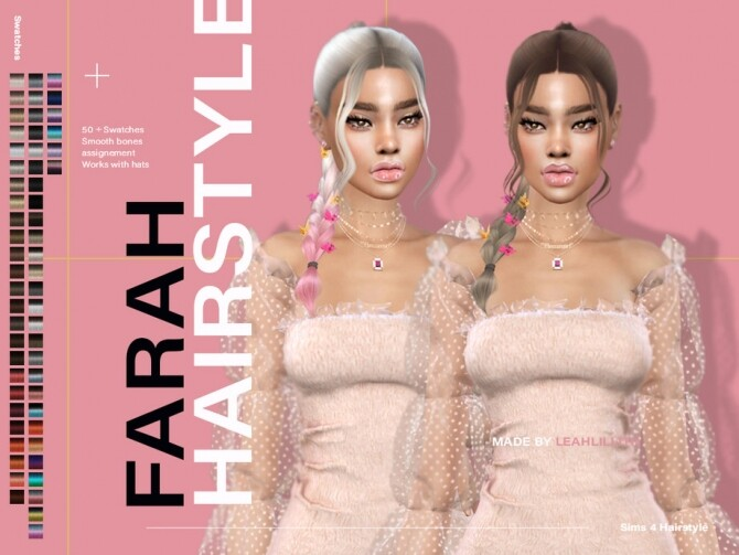 Sims 4 Farah Hairstyle by Leah Lillith at TSR