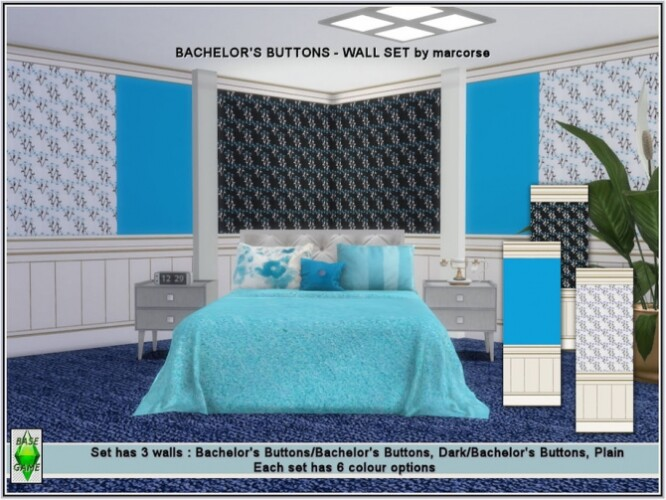 Bachelors Buttons Wall Set by marcorse