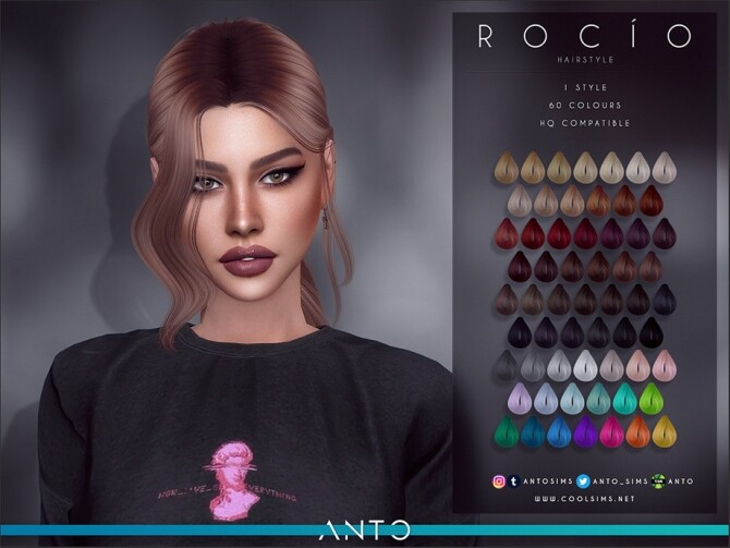 Sims 4 Rocio Hairstyle by Anto at TSR