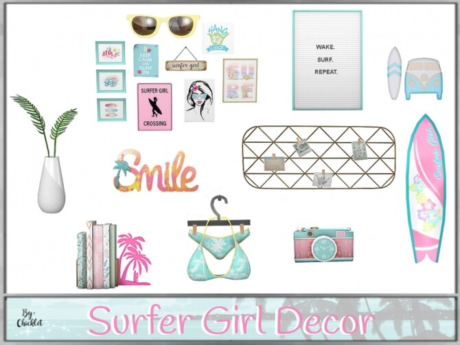 Surfer Girl Decorations by Chicklet at TSR image 708 670x503 Sims 4 Updates