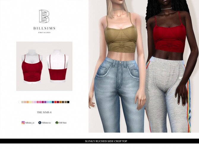 Sims 4 Slinky Ruched Side Crop Top by Bill Sims at TSR