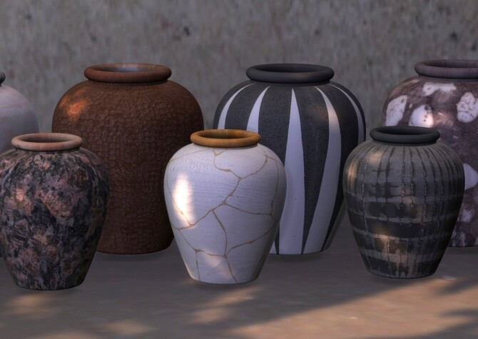 Sims 4 Recolors of Binh Bowl, Short Vase and Vase with Branches at Riekus13