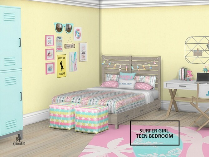 Surfer Girl Teen Bedroom by Chicklet at TSR image 747 670x503 Sims 4 Updates