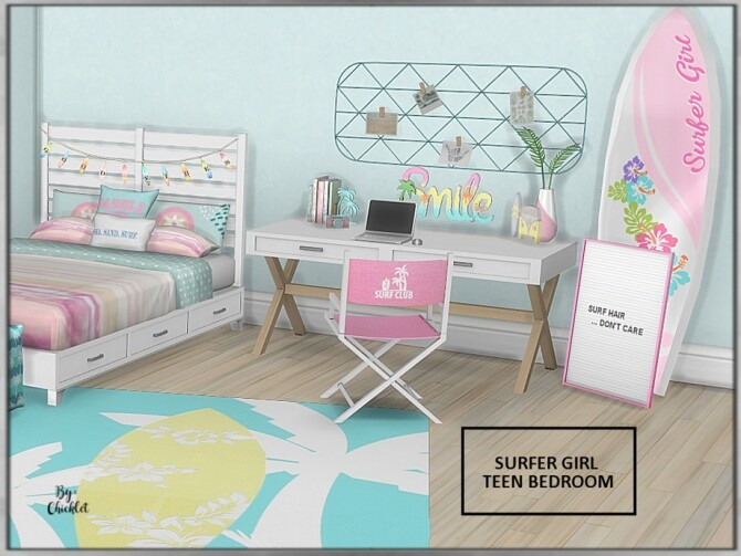 Surfer Girl Teen Bedroom by Chicklet at TSR image 757 670x503 Sims 4 Updates