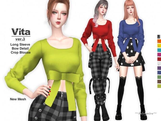 Sims 4 VITA Ver.3 Bow Crop Top by Helsoseira at TSR