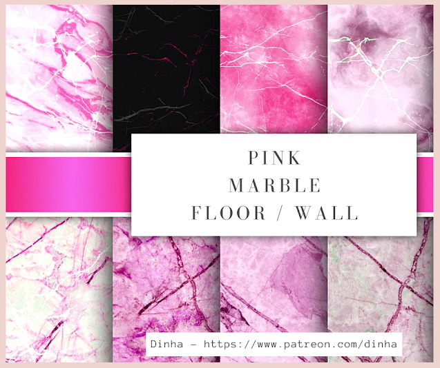 Sims 4 Matching Pink Marble: Floor & Wall at Dinha Gamer