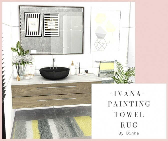 IVANA Collection: Painting, Rug & Towel at Dinha Gamer image 7717 670x562 Sims 4 Updates