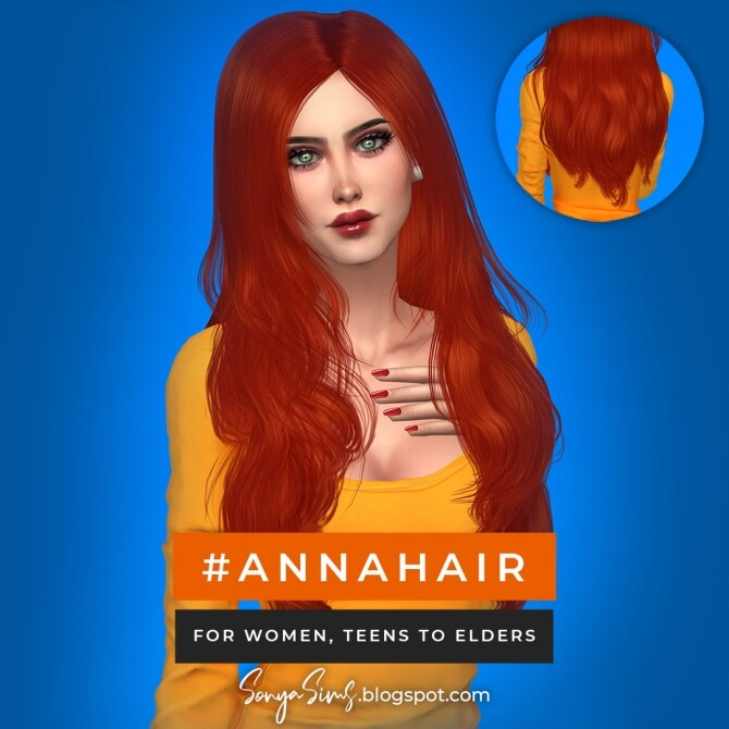 Blaire hair for all ages FREE + Anna hair at Sonya Sims image 7718 670x670 Sims 4 Updates